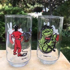 Vintage 80s / 90s Ghostbusters glasses 2 cups